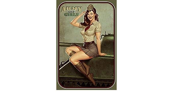 Us Army Biker Pin Up Girl Panneau M/étallique Plaque M/étallique Plaque Vo/ût/é Signe en /Étain M/étal 20 X 30 Cm