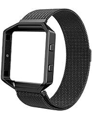 Fitbit Blaze Frame + Armband (5,9-9,4 Zoll), Swees Milanaise Edelstahl Replacement Wrist Band Strap Watchband Uhrenarmband mit Magnet-Verschluss und Metallrahmen für Fitbit Blaze Smart Fitness Watch