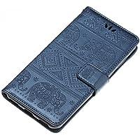 Funda Huawei Y5 2017, Carcasa Huawei Y6 2017, CaseLover Piel Libro Cuero Elefante Impresión