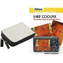 Progallio Sparset - Funda para cámaras Nikon Coolpix S6800 S6600 S6500 S6400 S6200 S6100 S5300 S5200 S4300 S3600 S3500 S2800 S2700 S2600 P310 L25 L26 L28 L29 (incluye libro en alemán IHRE COOLPIX), color blanco
