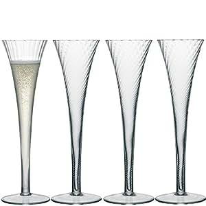 LSA International 200ml Aurelia Flûte à champagne, transparent (Lot de 4)