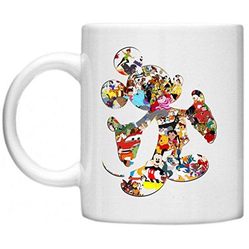 Fotorahmen Collage Disney Figuren, Motiv Mickey Mouse Outline Shaggy Langflor Hochflor Teppich Funny Tasse mit Aufdruck auf mikrowellengeeignet & spülmaschinenfest 11oz Becher/Tasse