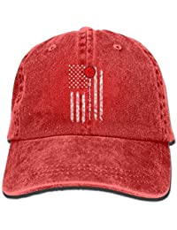 Hipiyoled Funny Volleyball American Flag Vintage Washed Dyed Cotton Twill  Low Profile Adjustable Baseball Cap Black 4cbcbeb2231