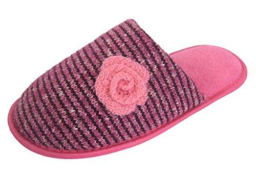 Coolers-dérapant sur Mule Chausson en tricot avec doublure polaire Motif strié rosace Rose - rose