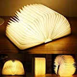 Lámpara plegable de madera para libros, luz LED magnética, luces decorativas, lámpara de mesa/escritorio con batería recargable de 880 mAh, suficientemente brillante para leer, ideal para regalo