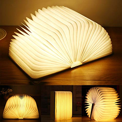 Yuanj Libro Lámpara LED, Luces Plegables de Madera 360°, USB Recargable, Portátil, Luz Lectura/Decorativa...