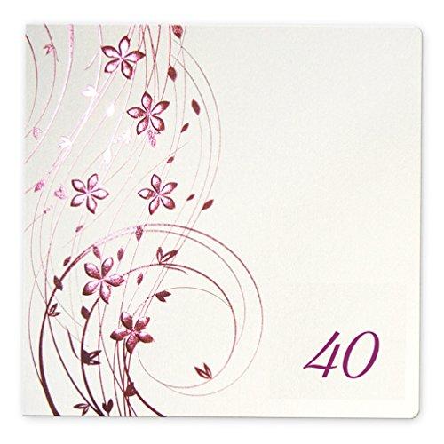 Einladungskarten Einladungen Geburtstag 40 Pearl weiß rosa metallic Einladungen 3- er Set F971_40