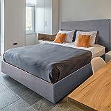 Frankfurt & Co–Oskar Grau Stoff Designer Bett Nur, erhältlich in 2Größen, Kingsize (1,5 m)