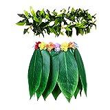 Falda hawaiana de hierba verde, falda con guirnalda y flores de hibisco artificiales para playa, suministros de fiesta de Luau