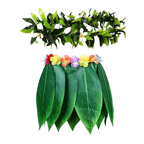 Falda de hierba de imitación para fiesta hawaiana, diseño de flores para niños, color verde
