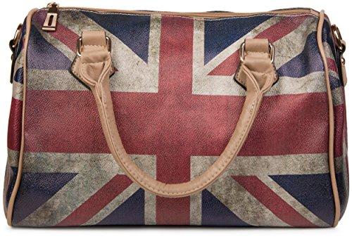 styleBREAKER Union Jack Handtasche im Großbritannien Vintage Design, Bowling Tasche, Henkeltasche, Damen 02012015, Farbe:Hellbraun/Modell-3