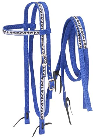 Tough 1 Nylon Browband Headstalls and Reins with Printed Overlay, Royal Blue Horse Head