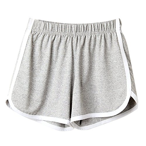 KUDICO Damen Retro Shorts Kurze Hosen Sleepers Sporthosen Pyjama Hosen Active Yoga Laufen Turnhalle Lässig Elastische Strandhose(Grau, Large) Logo Sleeper