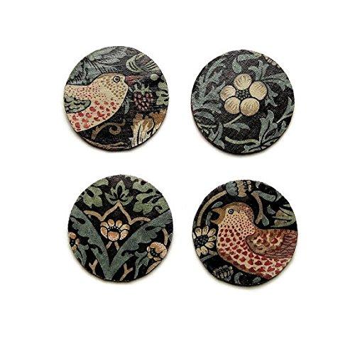 William Morris Erdbeerdieb, Kunst und Handwerk, braun, beige, grün Stoff personalisierbar Découpage-Set von vier Untersetzer Kork, Getränke Mats.