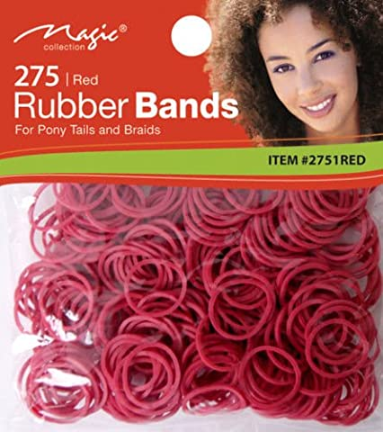 Magic Collection Elastic Rubber Bands Red*For Pony Tails And Braids*Item no 2751 RED