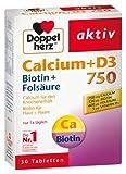 Doppelherz Calcium 750 + D3 + Biotin + Folsäure, 4er Pack (4 x 30 Tabletten)