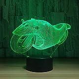 orangeww 3D Night Light Basketball Rugby Moto Cheerleading Voile 7 Changement De Couleur LED Bureau Table Decor Lampe Moto
