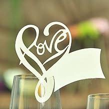 Colormax Pack de 50 corte con láser Corazón lugar nombre tarjeta boda mesa fiesta decoración