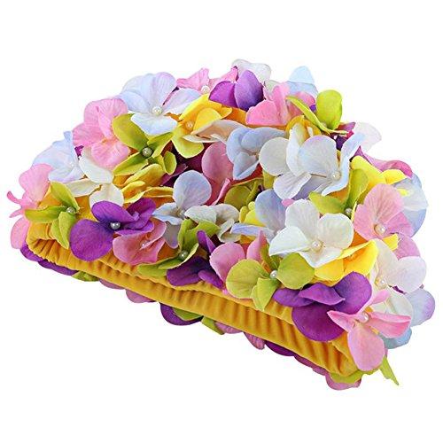 Moresave Damen Blumen Lange Haarpflege Bademütze Hut Frauen Casual Sport Schwimmenkappe (Mädchen Blumen-schwimmen-kappe Für)