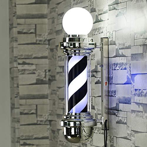 Nitama LED Barber Pole Weiß Schwarz Rotierende Leuchtstreifen Wasserdichtes Licht Friseursalon Ladenschild Wandleuchte, 68Cm