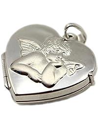 90f4d172ebc5 ASS 925 Silber Medaillon Anhänger Foto Herz mit Engel.Schutzengel zum Öffnen