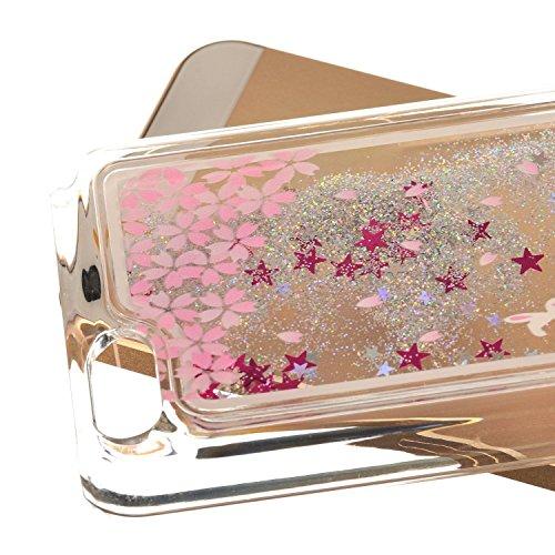 Coque pour iPhone 5C, iPhone 5C, 5C, iPhone 5C Boîtier PC, newstars Rose Motif floral paillettes cristal Blingbling [Fluide Liquide] flottante en caoutchouc transparent plaqué 3D PC PC Coque de pr Sakura Rabbit,Silver