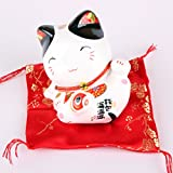 Maneki Neko - petite statue de chat japonais - feng shui porte-bonheur et tirelire (Oreille noire)