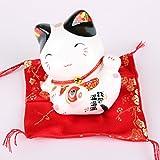 Maneki Neko di porcellana - piccolo gatto fortunato giapponese (Orecchio nero)
