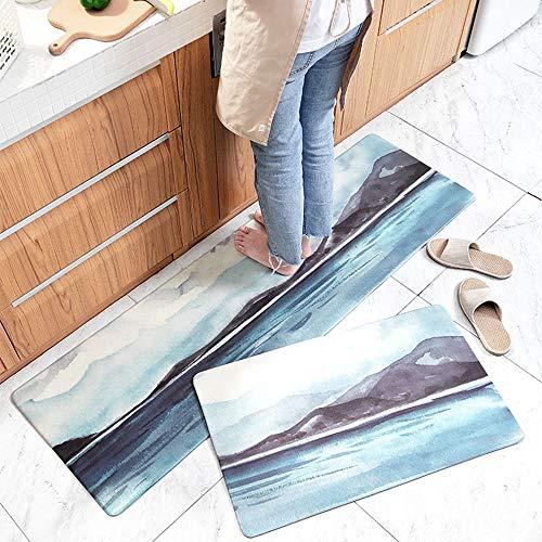 AZUO 3 Stück Zum Verkauf Haushalts Leder Teppich Marmorierung Küchen Streifen Wasserdicht Rutschfeste Ermüdungs Matte Fußkissen,D,M
