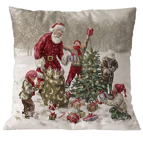 HEVÜY Kissenbezug Merry Christmas Schneemann Muster Weihnachtskissen Dekokissen Couch Kissenbezüge Weihnachten Kissenhülle Zierkissen Sofakissenbezug 45X45 cm