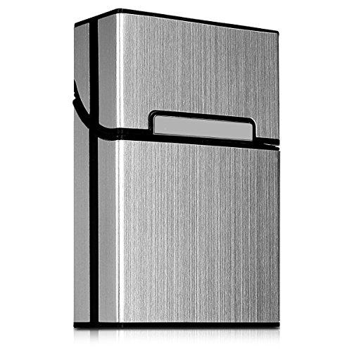 kwmobile Funda Protectora para Cigarrillos - Estuche Protector de Aluminio con Cierre magnético para cigarros en Plata