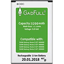 GadFull® Batería para Samsung Galaxy Note 3 | Fecha de fabricación del 2018 | Corresponde al original EB-B800BE | Modelo de Smartphone GT-N9000 | GT-N9005 | GT-N9006 | GT-N9009