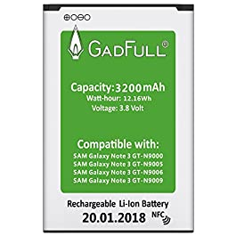 GadFull Battery compatible with Samsung Galaxy Note 3 | 2019 Production Date | Corresponds to The Original EB-B800BE | Compatible with Galaxy Note 3 GT-N9000 | GT-N9005 | GT-N 9006 |GT-N9009
