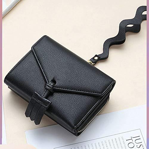 Wave Griff Damen Geldbörse, kurzer Reißverschluss Null Geldbörsen, minimalistische Faltung Kreditkarte Tasche Leder for RFID-Scheckheft Inhaber Kredit (Color : Black.) -