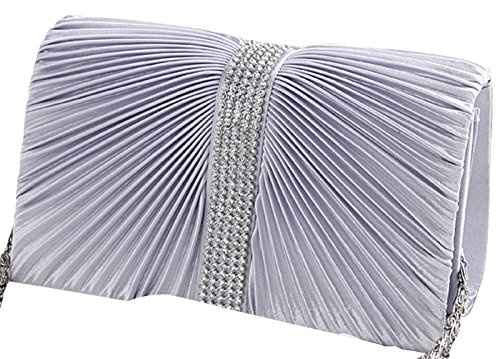 Tina Women's Fashion Diamond Pleated Chain Evening Clutch Handbag Purse Silver Silver