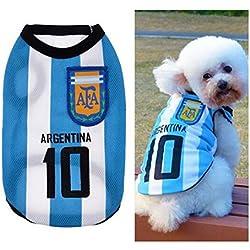 Ropa para Perros Pequeños, Jersey Chaleco Deportes Suave Transpirable del Perros Gatos Cachorros Camisa del Animal Doméstico de Fútbol Copa del Mundo para Verano Al Aire Libre -Argentina,M