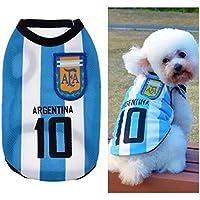 BDM Ropa para Perros Pequeños, Jersey Chaleco Deportes Suave Transpirable del Perros Gatos Cachorros Camisa del Animal Doméstico de Fútbol Copa del Mundo para Verano Al Aire Libre -Argentina,M