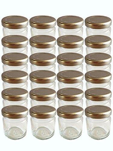 40er Set Sturzgläser Mini Gläser 53 ml Deckelfarbe Silber To 43 Rundgläser Marmeladengläser Einweckgläser Honig Senf Marmelade Gewürzgläser Dose