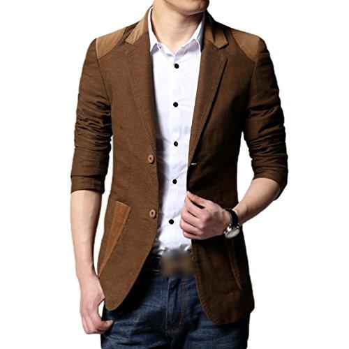 ZhiYuanAN Uomo Blazer Giacca Monopetto Slim Fit Cappotto Casual Business Suit Outwear Addensato Caldo Giacca Caffè