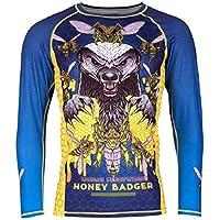 Tatami Rashguard Honey Badger V5–Rash Guard BJJ MMA Grappling Funktions Camiseta Top de Compresión para Hombre, Color Azul, Tamaño Extra-Large