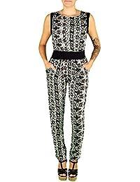 Damen Overall Partyoverall Jumpsuit Hosenanzug Catsuit Hosen-kleid aus gemustertem Stoff mit weichen Falten