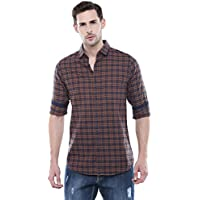 Dennis Lingo Men's Checkered Slim Fit Casual Shirt (C417_Khaki_M_Khaki_M)
