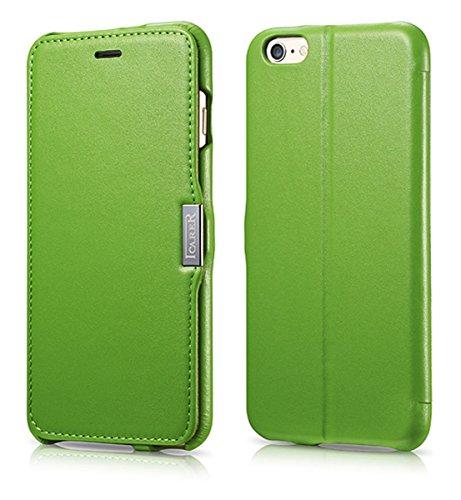 Luxus Tasche für Apple iPhone 6 Plus und 6S Plus (5.5 Zoll) / Außenseite aus echtem Leder / Innenseite aus Textil / seitlich aufklappbar / ultraslim / Folder Case mit Standfunktion / Farbe: Grün