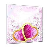 Memoboard 40 x 40 cm, Interieur - Herzen Eheringe - Glasboard Glastafel Magnettafel Memotafel Pinnwand Schreibtafel - Herz - Liebe - Ehe - Heirat - heiraten - verliebt - gold - rosa - Wohnzimmer - Schlafzimmer - Küche - Bild auf Glas - Glasbild - Handmade - Design - Art
