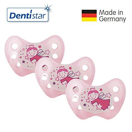 Preisvergleich Produktbild Dentistar® Night Schnuller 3er Set - Nuckel Silikon in Größe 2, 6-14 Monate - zahnfreundlich, kiefergerecht & leuchtend – Nacht-Leuchtschnuller, Fee Rosa