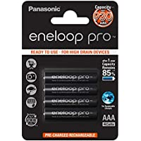 Panasonic eneloop pro, Ready-to-Use Ni-MH Akku, AAA Micro, 4er Pack, min. 930 mAh, 500 Ladezyklen, mit extrastarker Leistung und geringer Selbstentladung