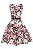 YMING Damen Vintage Kleid Retro Hepburn Stil Festliches Kleid Hochzeitgast Kleid Swing Kleid Sommerkleid,Weiß,Blumen mit Vögel,L/DE 40-42