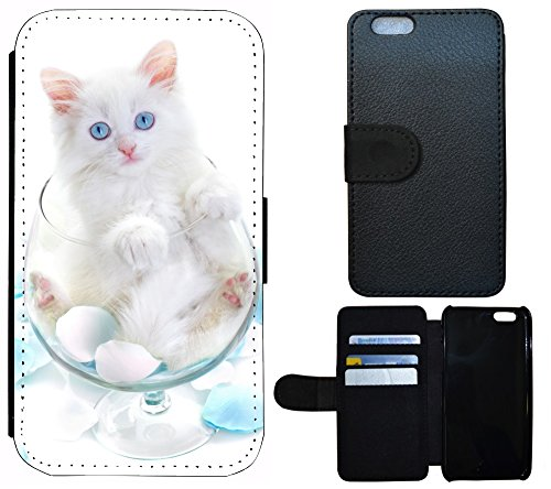 Schutz Hülle Flip Cover Handy Tasche Etui Case für (Apple iPhone 4 / 4s, 1068 Löwe Cartoon Braun Türkis) 1063 Katze Glas Weiß Blau