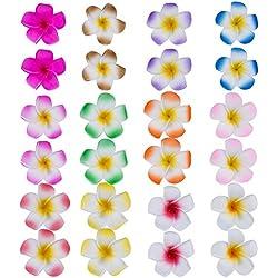 24 Stück 2,4 Zoll Hawaii Frangipani Blumen Schaum Haarspange Hawaii Haarklammer