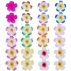 24 Pieces 2.4 Inch Hawaiian Plumeria Flower Hair Foam Hawaii Hair Clips